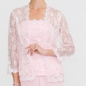 Women's Pink Lace Sequin Cardigan jacket 16w